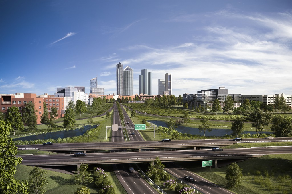 BIM City hero image showing freeway interchange and city in the background.